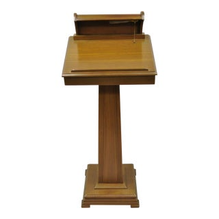 Vintage Traditional Wooden Lighted Podium Lectern Book Bible Stand For Sale