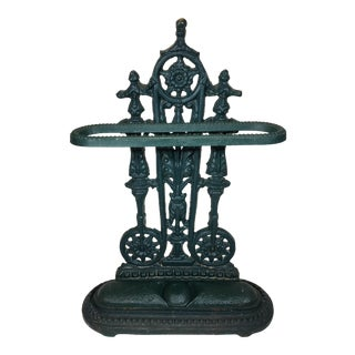 Antique French Dark Green Cast Iron Umbrella Stand With Drip Pan For Sale