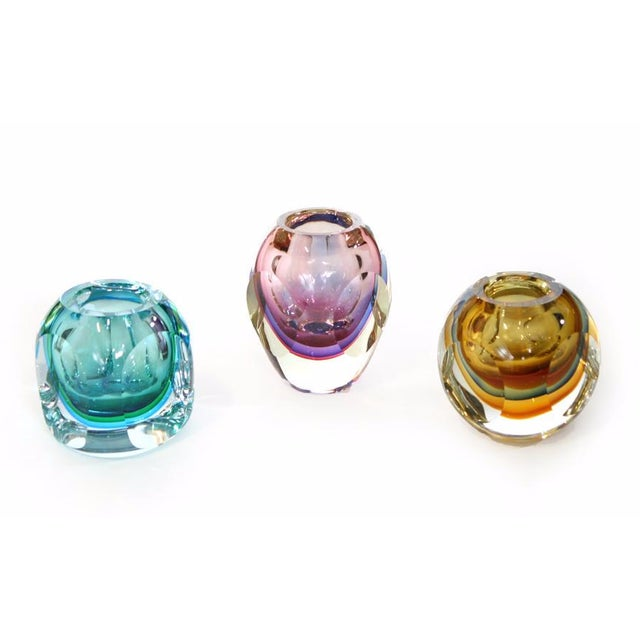 Faceted Murano Sommerso Glass Vases - Set of 3 For Sale