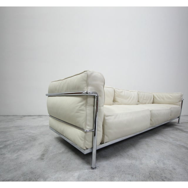 Authentic Pair of Lc3 Cassina Grand Modele 3 Seat Sofas by Le Corbusier For Sale - Image 9 of 13