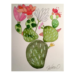 """Party Cactus"" Watercolor Painting"