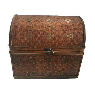 Rattan & Wood Woven Small Chest Box