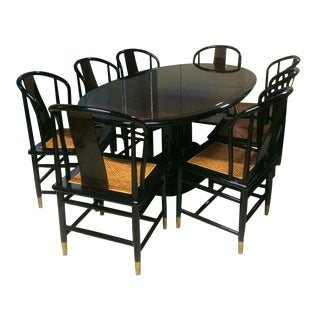 "Henredon 1987 ""Scene Three"" Art Deco Black Lacquered & Burl Wood Dining Table & Chairs For Sale"