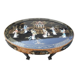 Vintage Asian Inlayed Mother of Pearl Coffee Table For Sale