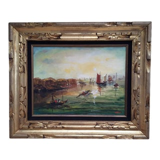 Chinoiserie Framed Seascape Painting For Sale