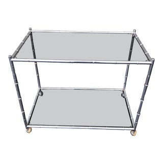 Mid-Century Modern Faux Bamboo Chrome Bar Cart For Sale