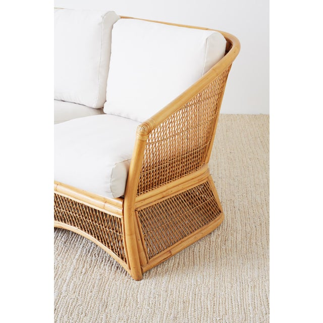 Midcentury Bamboo Rattan Wicker Settee or Loveseat For Sale - Image 12 of 13