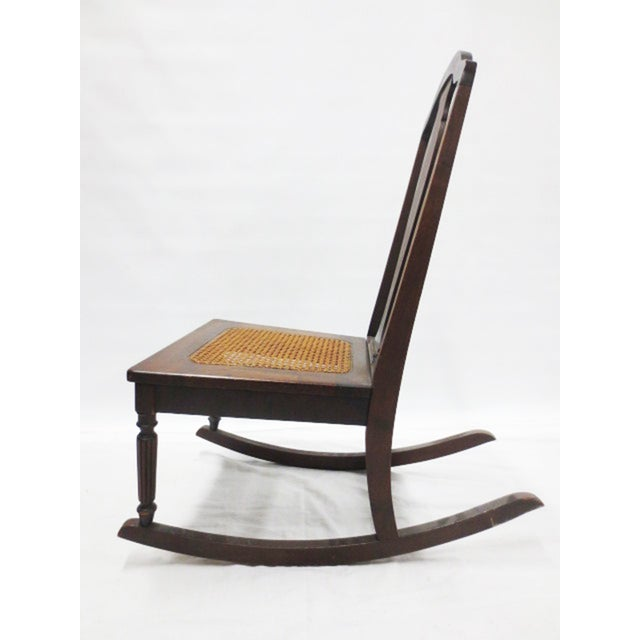 Mahogany Rocker With Caned Seat - Image 5 of 5