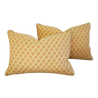 "24"" X 17"" Designer Italian Fortuny Persiano Feather/Down Pillows - Pair For Sale"