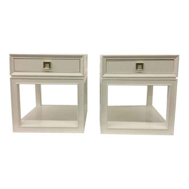 Malibu Loft White & Brass Side Tables - A Pair - Image 1 of 5