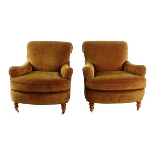 Vintage Brown Fabric Upholstered Club Armchairs - a Pair For Sale