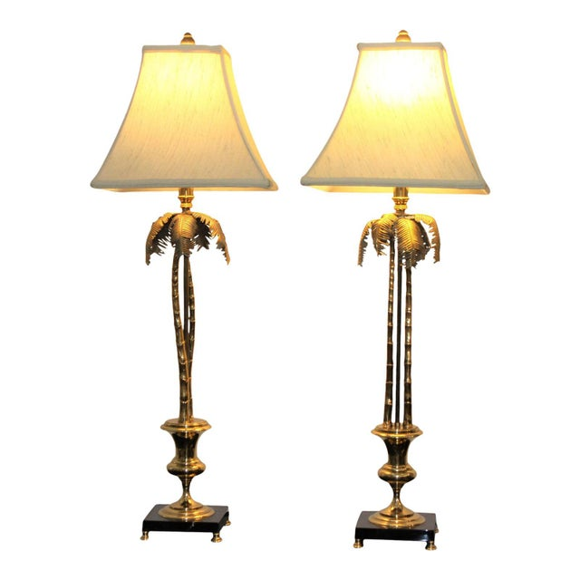 Vintage Maison Jansen Style Palm Tree Table Lamps - a Pair For Sale - Image 11 of 12