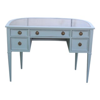 Neoclassical Demilune Leather Top Desk For Sale