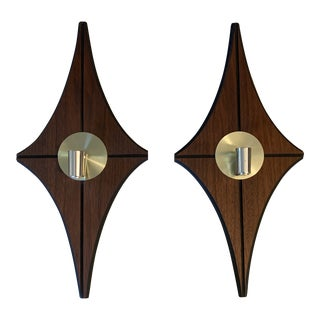 Mid Century Modern Wood and Brass Candle Wall Sconces - a Pair For Sale