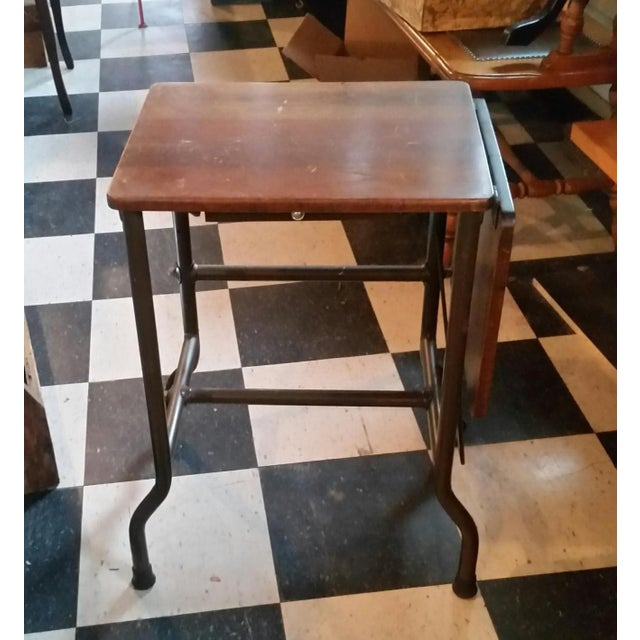 1960s Traditional Ideal Sherman-Manson Wood/Metal Typewriter Table For Sale - Image 9 of 9