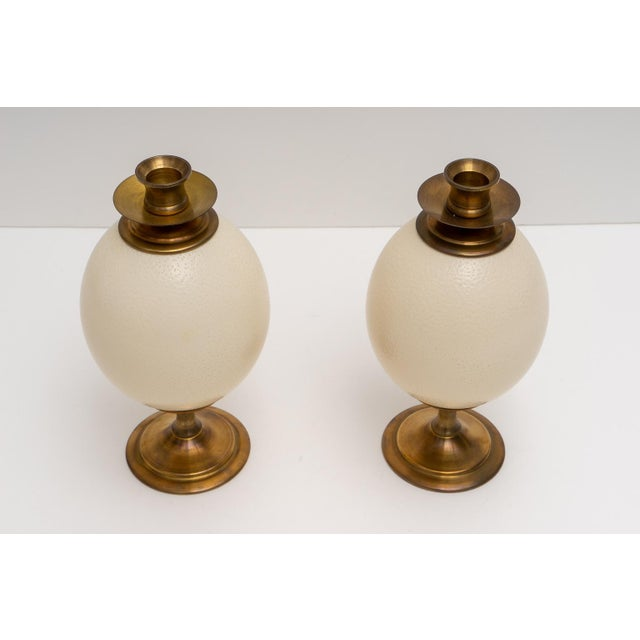 This stylish set of ostrich eggs mounted as candle sticks were acquired from a Palm Beach estate and are very much...