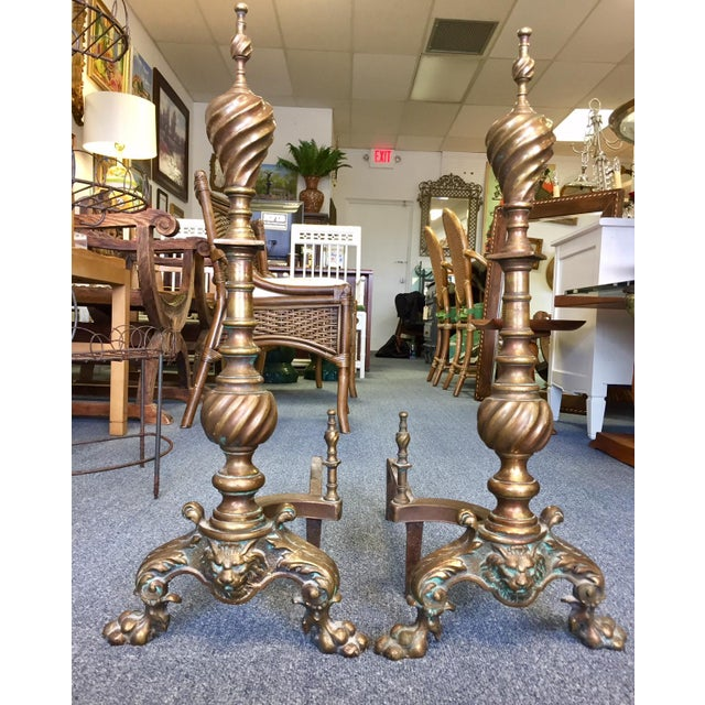 1950s English Traditional Brass & Copper Twisted Andirons - a Pair For Sale In West Palm - Image 6 of 6