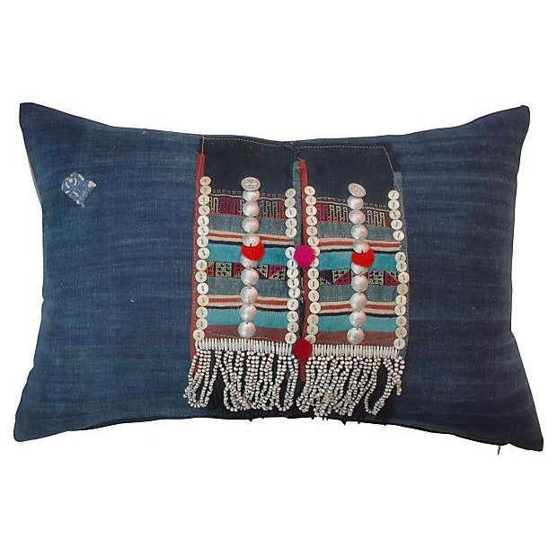 Beaded Hmong Fragment Indigo Pillow - Image 1 of 5