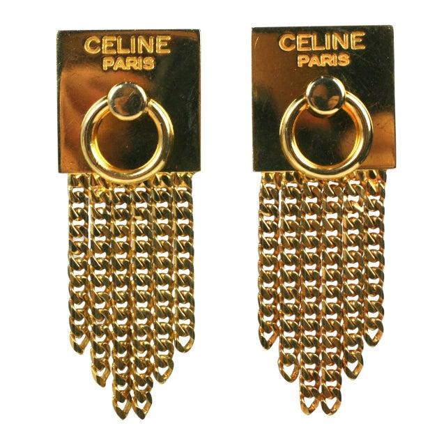 Celine Gold Chain Door Knocker Earrings For Sale - Image 4 of 4