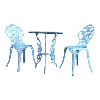 Vintage Mid Century Wrought Iron Victorian Style Garden Bistro Table and Chairs- Set of 3 For Sale