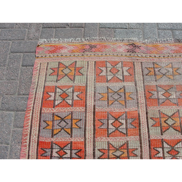 "Vintage Turkish Kilim Rug - 4'9"" x 5'1"" For Sale - Image 4 of 11"