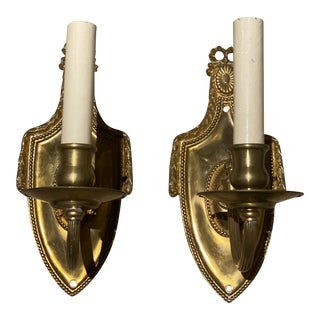 Neoclassic Style Gilt Bronze Sconces - a Pair For Sale
