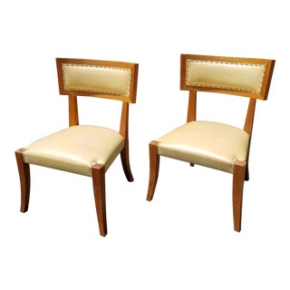 Pair of Yellow Leather Side Chairs by Ironies For Sale