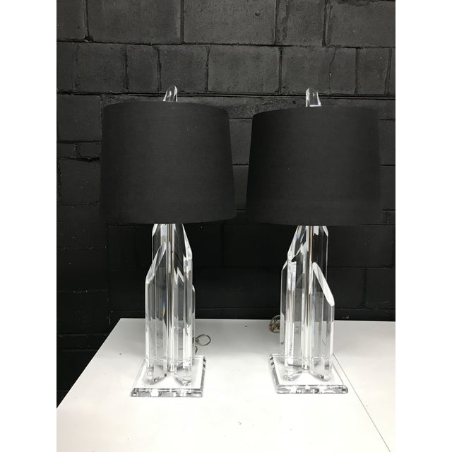Signed Sculptural Van Teal Lucite Lamps - a Pair For Sale - Image 9 of 9