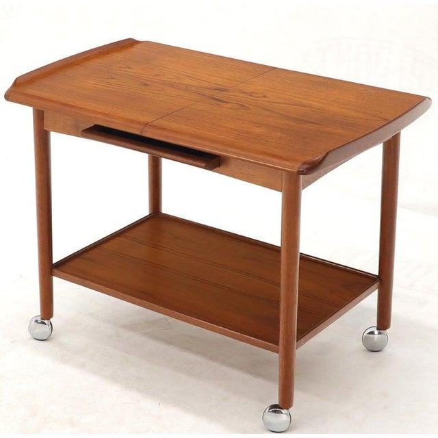 Danish Mid-Century Modern Teak Expandable Cart With One Leaf For Sale - Image 11 of 13