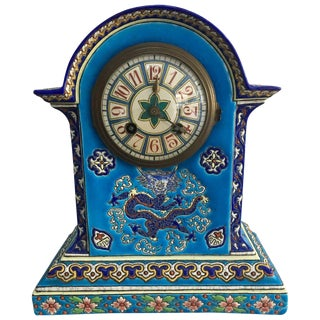 19th Century French Chinoiserie Longwy / Gien Enamel Clock For Sale