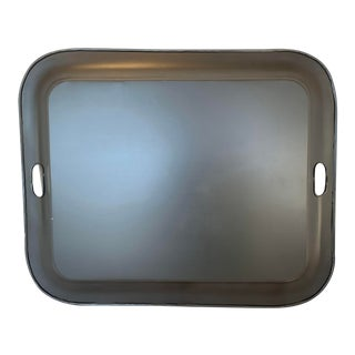 Large Black Metal Tray With Handles For Sale
