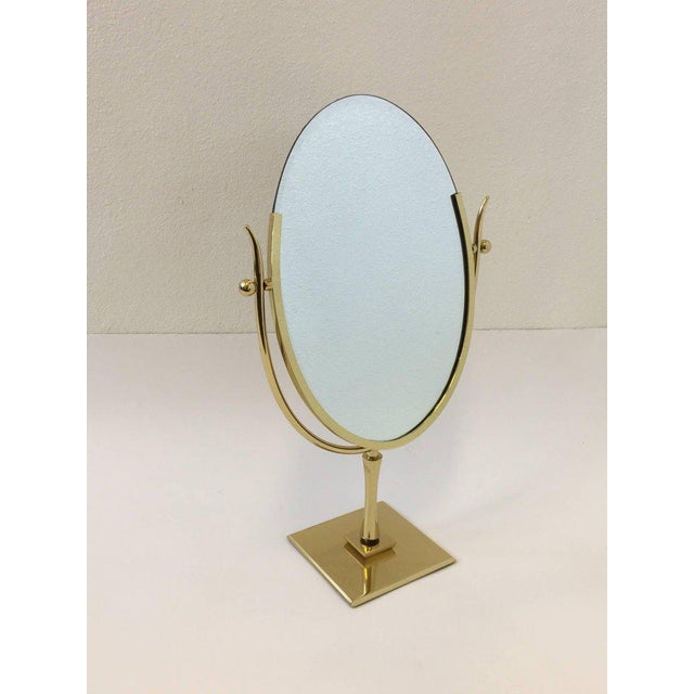 Polish Brass and Leather Vanity Mirror by Charles Hollis Jones For Sale - Image 9 of 11