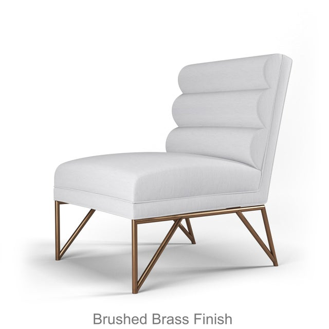 Not Yet Made - Made To Order Paulo Slipper Chair - Brushed Brass Finish - Optic White Linen For Sale - Image 5 of 5