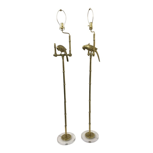 Brass Parrots Floor Lamps, a Pair For Sale