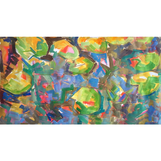 """""""Water Lilies"""" Painting by Trixie Pitts 30""""x54"""""""" - Image 1 of 3"""