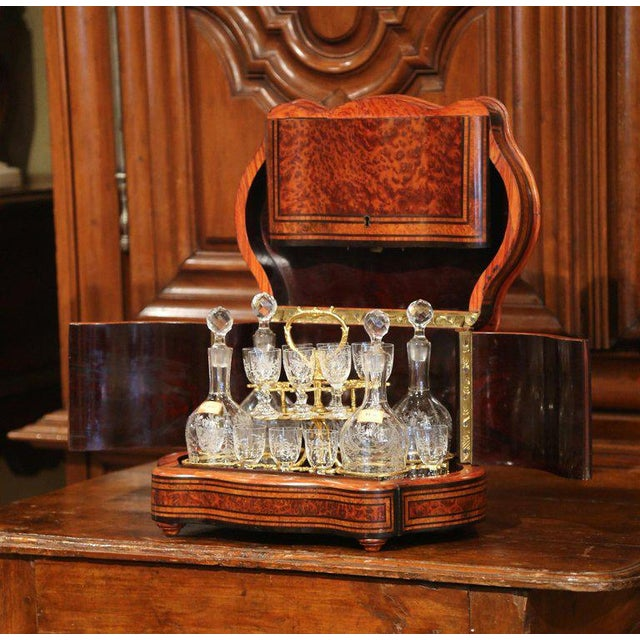 Create an elegant bar area with this antique and complete fruit wood liquor box from France, circa 1870. Bowed on the...