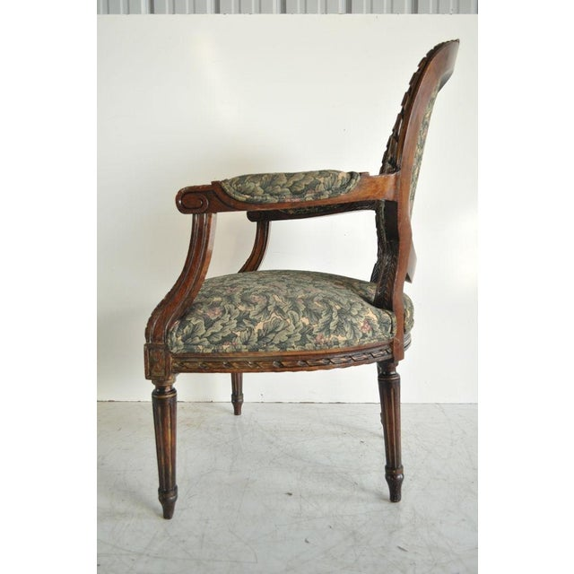Vintage French Louis XVI Style Carved Walnut Fireside Arm Chair Fauteuil For Sale - Image 5 of 11