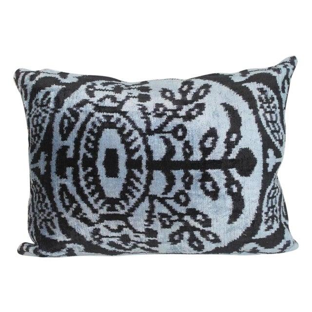 Mineral Blue Silk Velvet Ikat Pillow - Image 1 of 2
