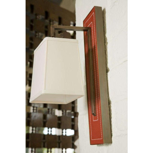 Paul Marra Leather Back Sconce with Tapered Linen Shade - Image 3 of 6