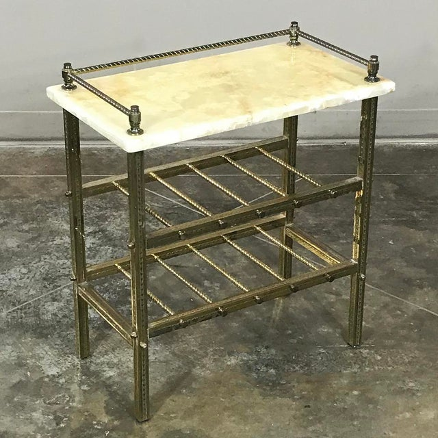 Louis XVI Mid-Century Brass & Marble Wine Serving Table For Sale - Image 3 of 11