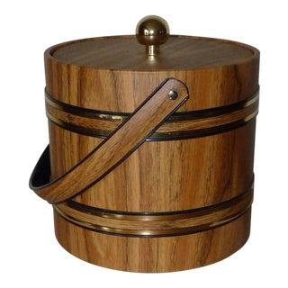 Mid Century Faux Wood Ice Bucket For Sale