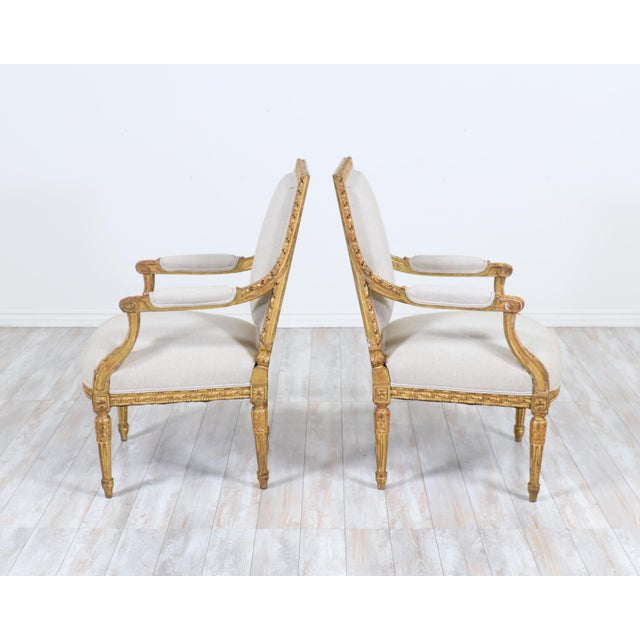 French Antique Louis XVI Giltwood Arm Chairs-A Pair For Sale - Image 4 of 12