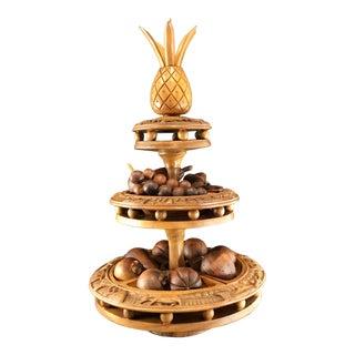 Mid-Century Modern Monkey Pod Teak Wood Pineapple Topped Lazy Suzan Epergne With Decorative Fruit For Sale