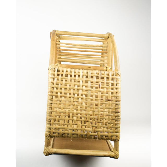 1970s Bohemian Rattan and Wicker Style Wall Desk Organizer For Sale In New York - Image 6 of 12