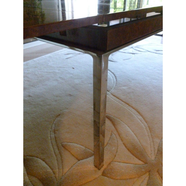 1970's Vintage Milo Baughman Style Burl-wood & Chrome Dining Table For Sale - Image 12 of 13