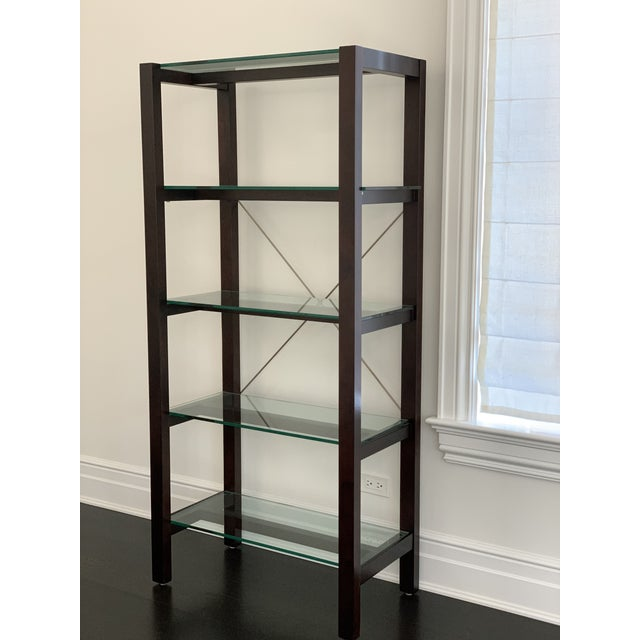 Brown Williams Sonoma Home Glass Bookcase For Sale - Image 8 of 10