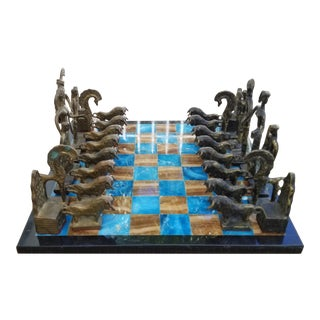 1960s Vintage Frederick Weinberg Style Brutalist Bronze Chess Set, Signed For Sale