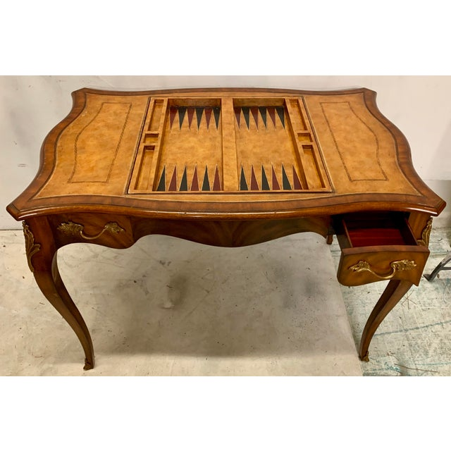 Wood Maitland-Smith Tooled Leather Game Table For Sale - Image 7 of 8