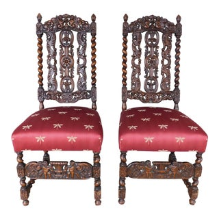 Antique Oak Barley Twist Chairs - a Pair For Sale