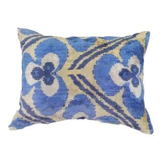 Silk Uzbek Ikat Velvet Hand Made Pillow Cushion,16x24 For Sale